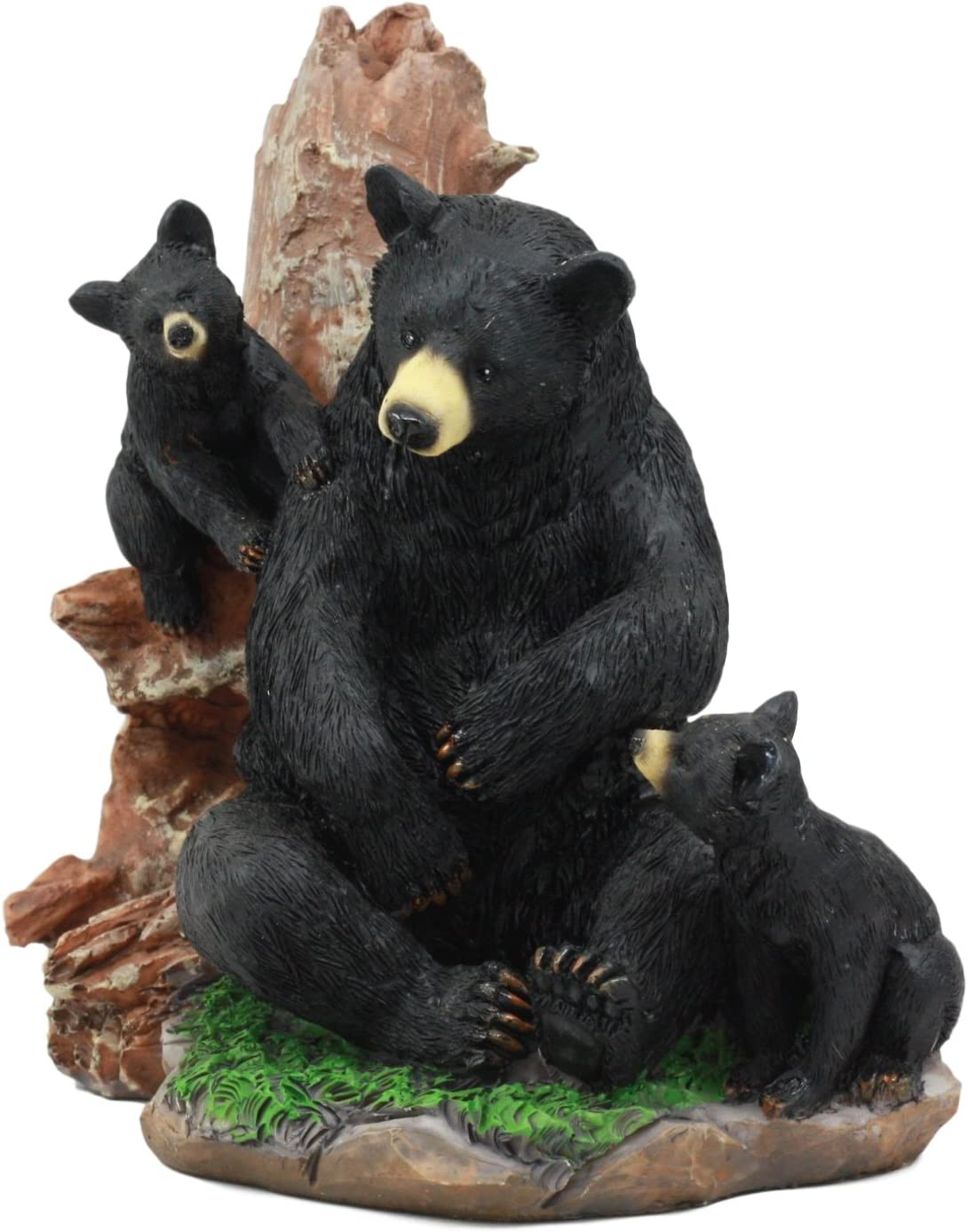 """Ebros Black Bear Mother and Her Cubs in The Woodlands Statue 6"""" Tall Nature's Nurture Bear Family Sculpture"""