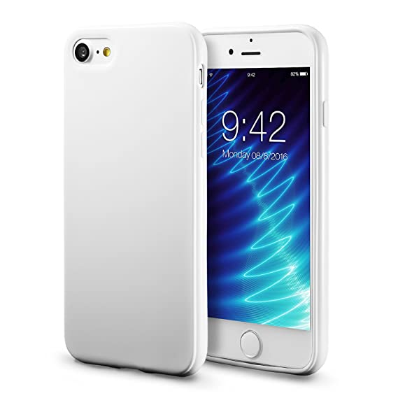 on sale f00dc 6b8b4 iPhone 7 White Case/iPhone 8 White Case, technext020 Shockproof Ultra Slim  Fit Silicone TPU Soft Gel Rubber Cover Shock Resistance Protective Back ...