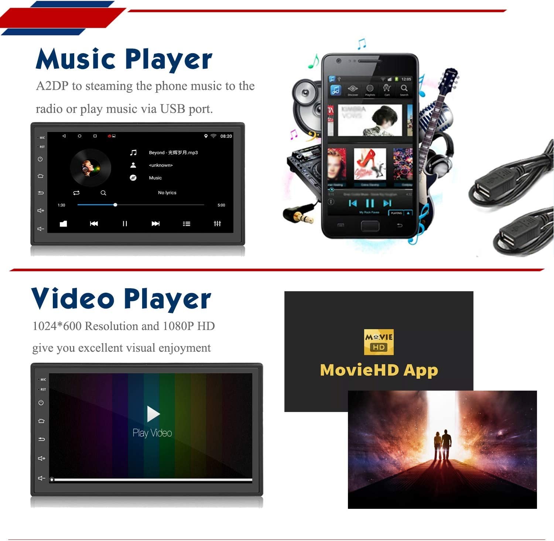Panlelo S1NV Autoradio AM FM RDS Touchscreen 2 Din Full HD Android 8.1 GPS Navigation Auto StereoQuad Core 1 GB RAM 16 GB ROM Bluetooth WiFi SWC R/ückfahrkamera inklusive