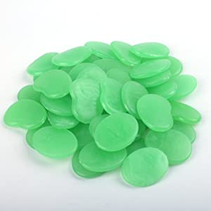 Glow in The Dark Pebbles for Garden Décor, Glow in The Dark Rocks Marbles for Fairy Garden, Glowing Stones Fish Tank Aquarium Gravel DIY Garden Gifts (Flake Shape, 44pcs,315g/0.69lbs) (Green)