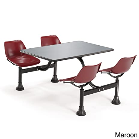 71u0026quot; W X 48u0026quot; D Cluster Lunchroom Table With Chairs Maroon Steel  Chairs/