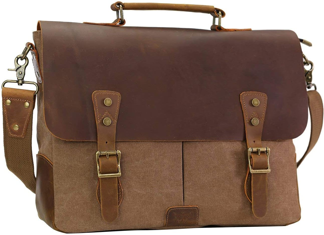 "WOWBOX Messenger Bag for Men 15.6"" Leather Laptop Satchel Briefcase Bags Coffee"