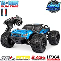 Hosim 1:16 Scale 2.4Ghz Radio Controlled RC Truck G174, High Speed 4WD Racing Vehicle 36km/h Off-Road Remote Control RC Car Electronic Monster Hobby Truck for Kids Adults Birthday Gifts - Blue