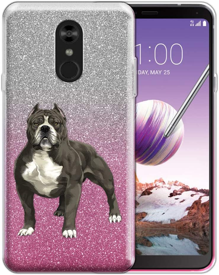 FINCIBO Case Compatible with LG Stylo 4, Shiny Sparkling Silver Pink Gradient 2 Tone Glitter TPU Protector Cover Case for LG Stylo 4 - Standing American Pitbull Terrier Dog