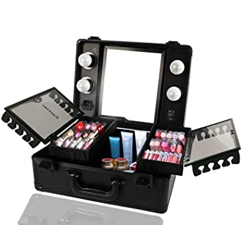 Kemier Makeup Train Case - Cosmetic Organizer Box Makeup Case with Lights and Mirror/Makeup