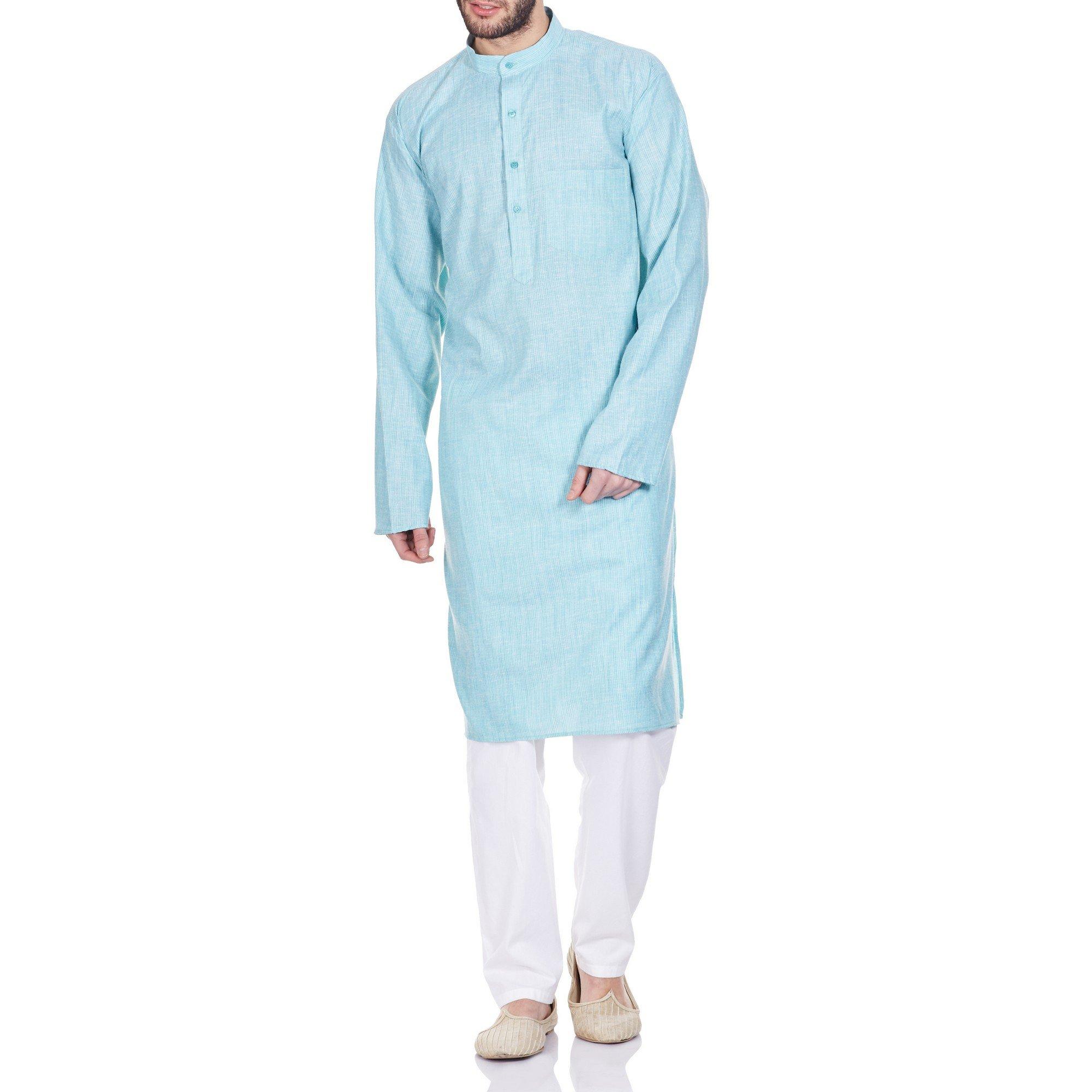 Comfortable Kurta Pajama Set For Men,Indian Dress Gifts For Grandpa 44 Inches