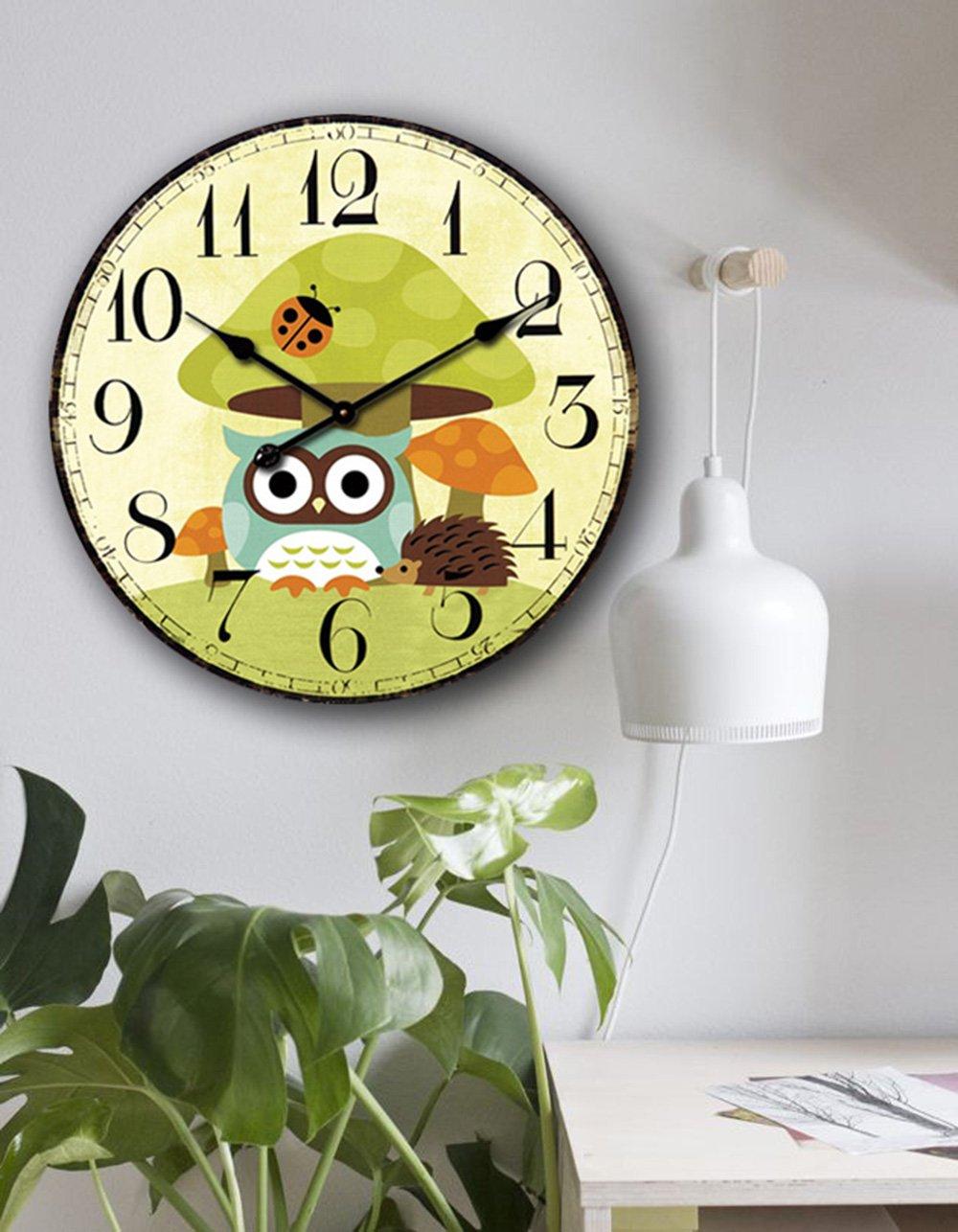 Amazon.com: Eruner 14-inch Vintage Wood Wall Clock - Colorful Ocean ...