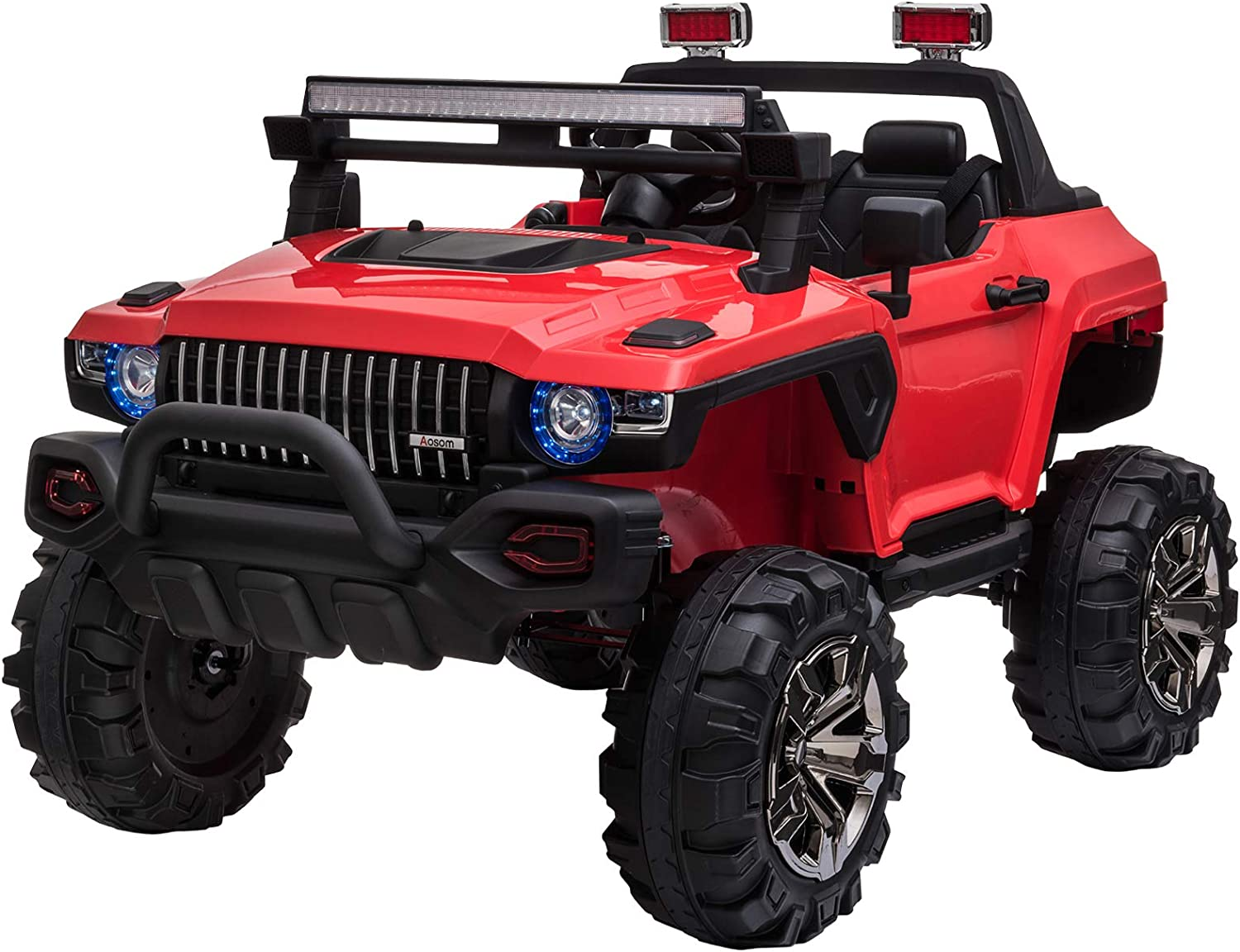 Amazon.com: Aosom 12V Kids Electric 2-Seater Ride On Police Car SUV Truck  Toy with Parental Remote Control, Red: Toys & Games