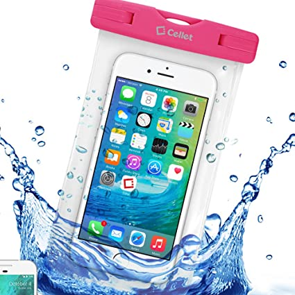 half off c9a00 5a36b Amazon.com: Waterproof 7 Inch Pink Beach or Pool Case with Lanyard ...