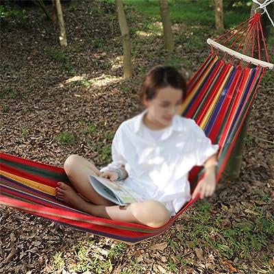 MONEYY Toile extérieure hamacs double bend anti-basculement en bois celibataires swing hamacs Hamac bâton en bois renforcé d'épaisseur