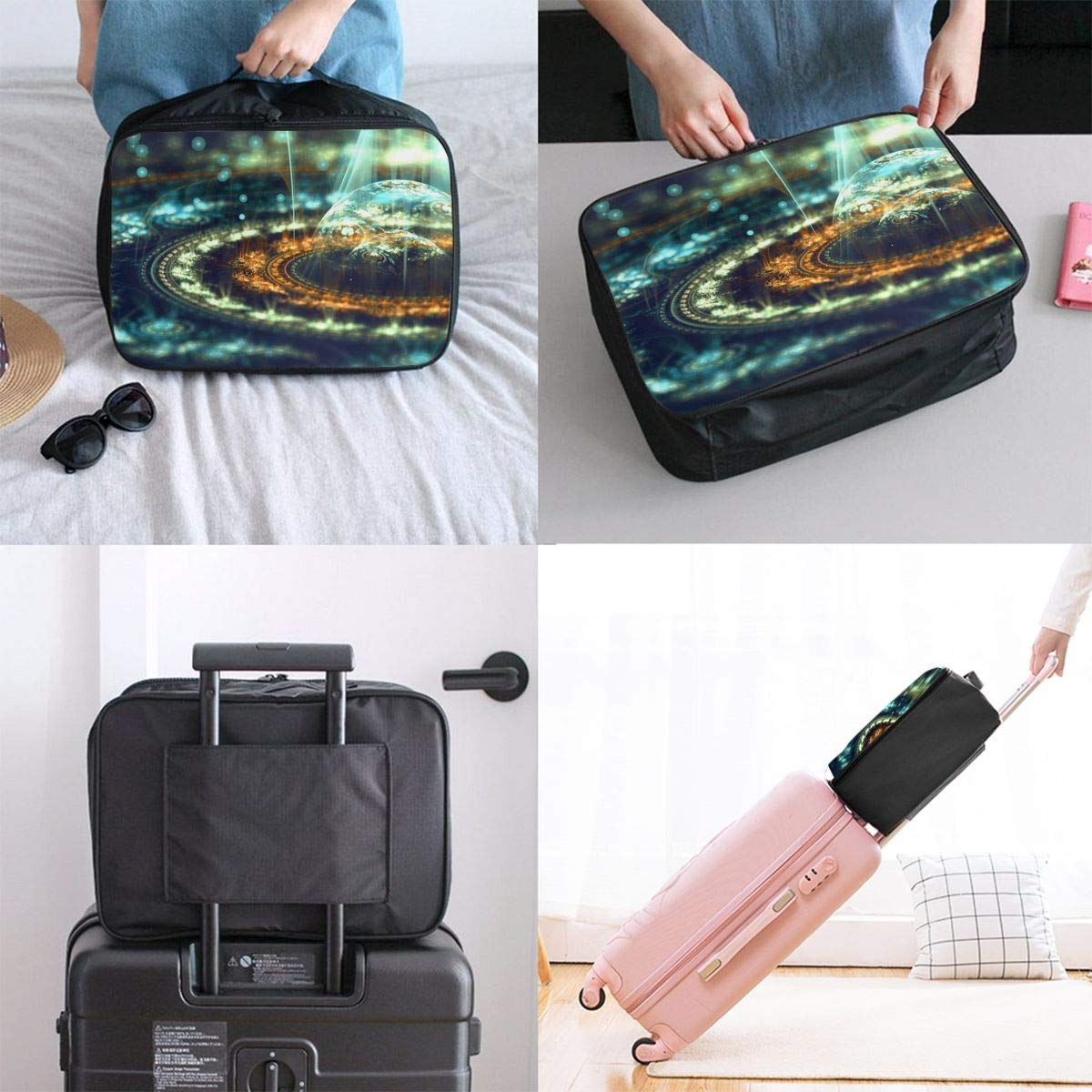 Travel Luggage Duffle Bag Lightweight Portable Handbag Abstract Space Print Large Capacity Waterproof Foldable Storage Tote