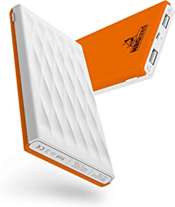 Artix M3 Ultra Compact Premium Quality Coating 10000mAh Portable Charger External Battery Power Bank for Galaxy, iPhone 6s, 6, 6 Plus, 5, iPad, LG G4, HTC, Phones, Tablets and More (White/Orange)