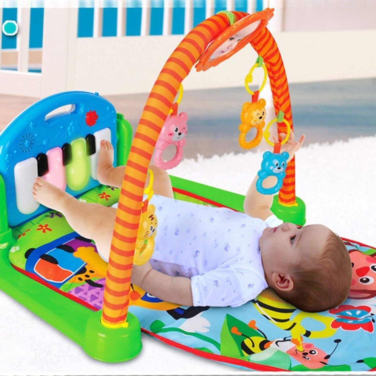 XuanYue 3 en 1 Alfombras de Juego y Gimnasios Kick Play Piano Gym para niños bebé