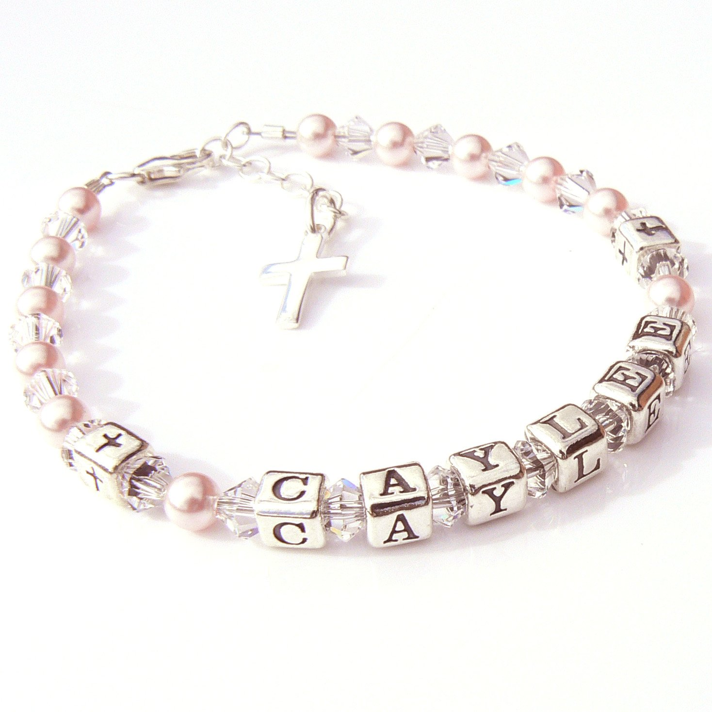 Amazon Com Childrens Name Bracelet First Holy Communion Gift