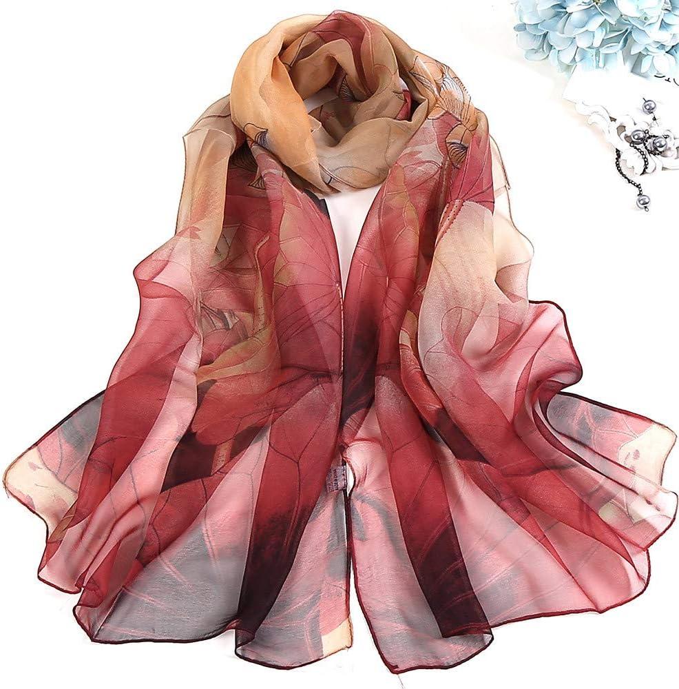 Multicolor Lomsarsh Ladies Lotus Thin Scarf Shawl Neck Scarf Handkerchief Satin Ribbon Scarf Retro Womens Girls Scarves