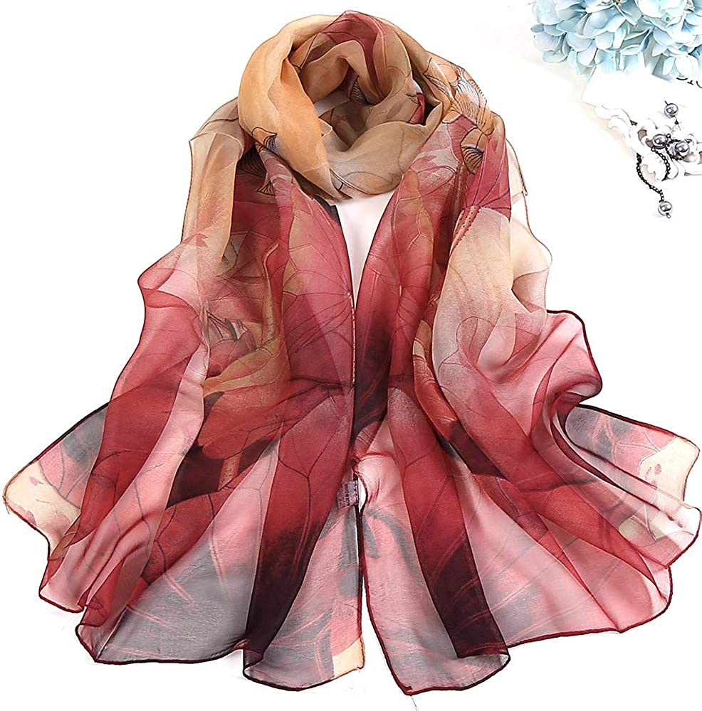 Xmiral Sciarpa Donna,Sciarpa di vecchia sciarpa sottile di loto Seta artificiale