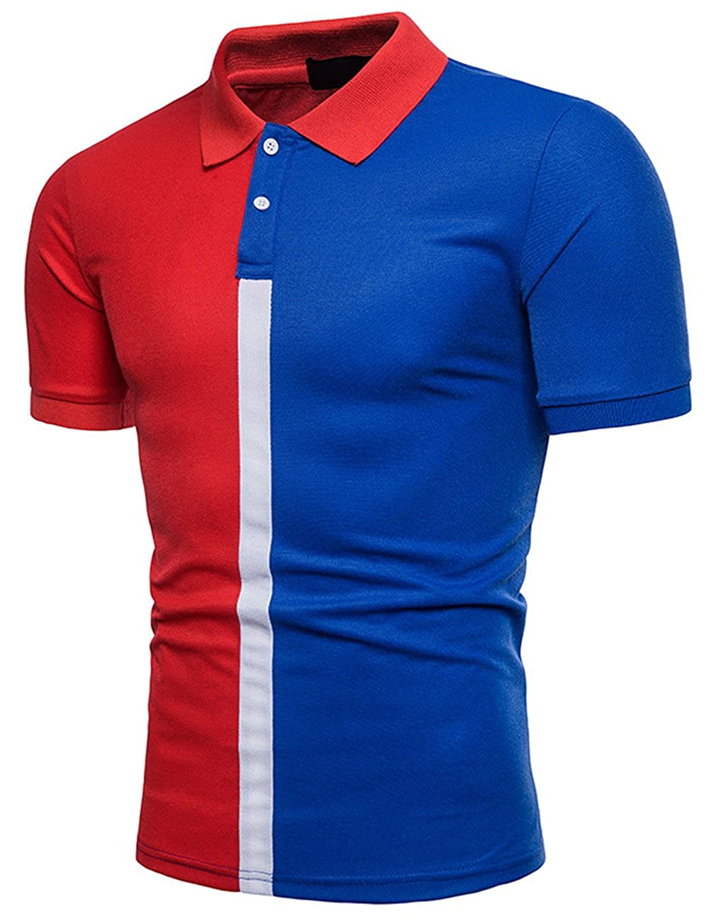 Polo para Hombre Manga Corta Casual Deporte Camisas Cuello Contraste Tennis