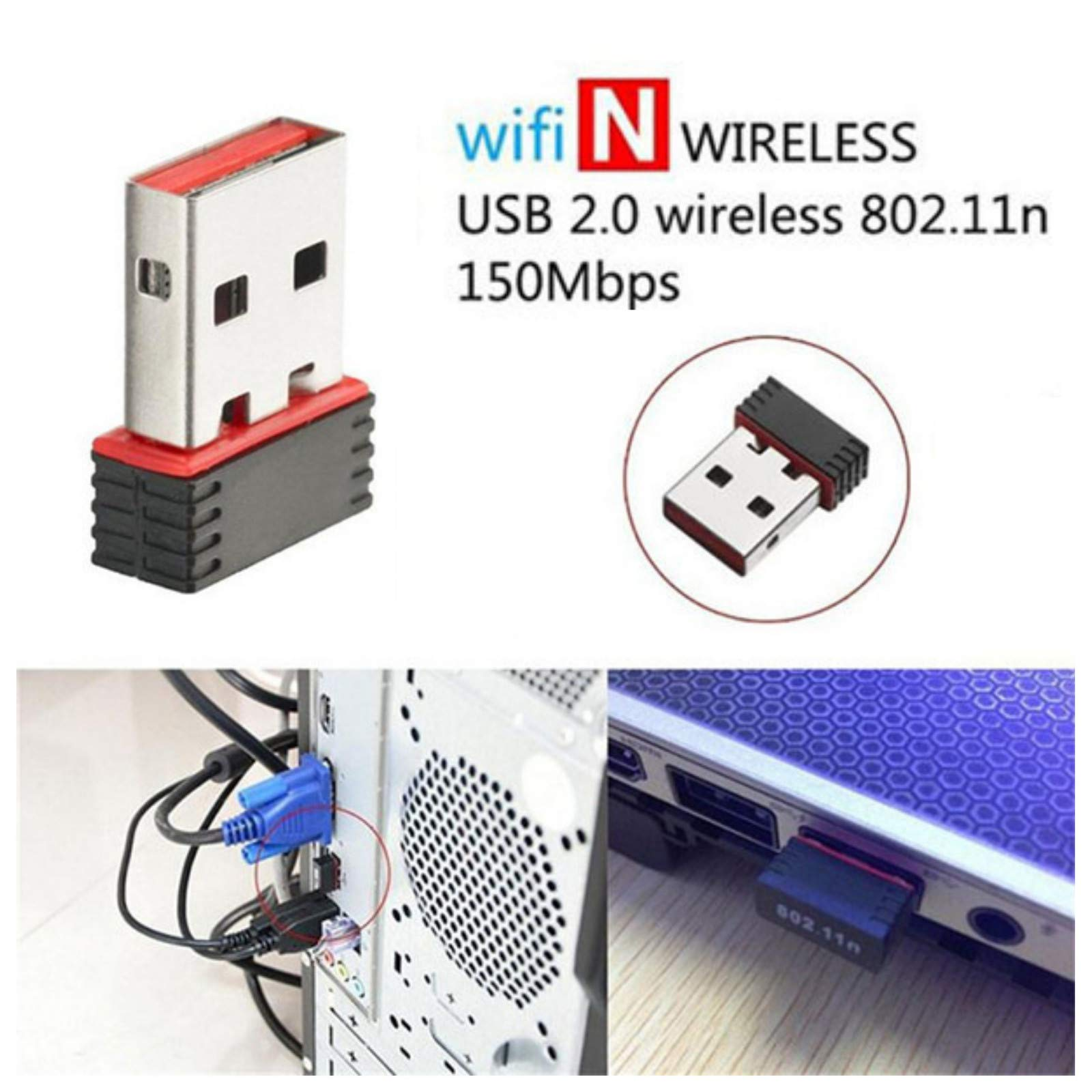 USB Adapter Mini USB 2.0 802.11n 150Mbps Wireless WiFi Network Adapter Card for PC Windows Linux (Black)