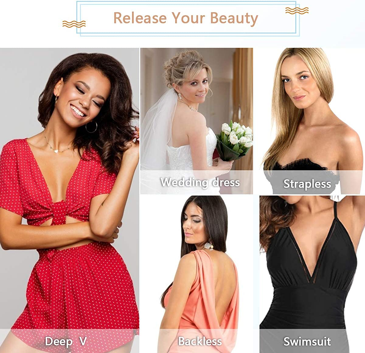 Self Adhesive Silicone Bra Invisible Lift up Bra Backless Strapless Adhesive Bra Reusable Stick on Bra Breast Lift Pasties Women Silicone Bra for D DD Cup Nude Breast Petal
