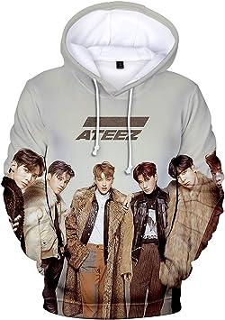 Qaedtls Kpop ATEEZ Hoodie Sweatshirt Off The Shoulder Sweater Jacket Pullover