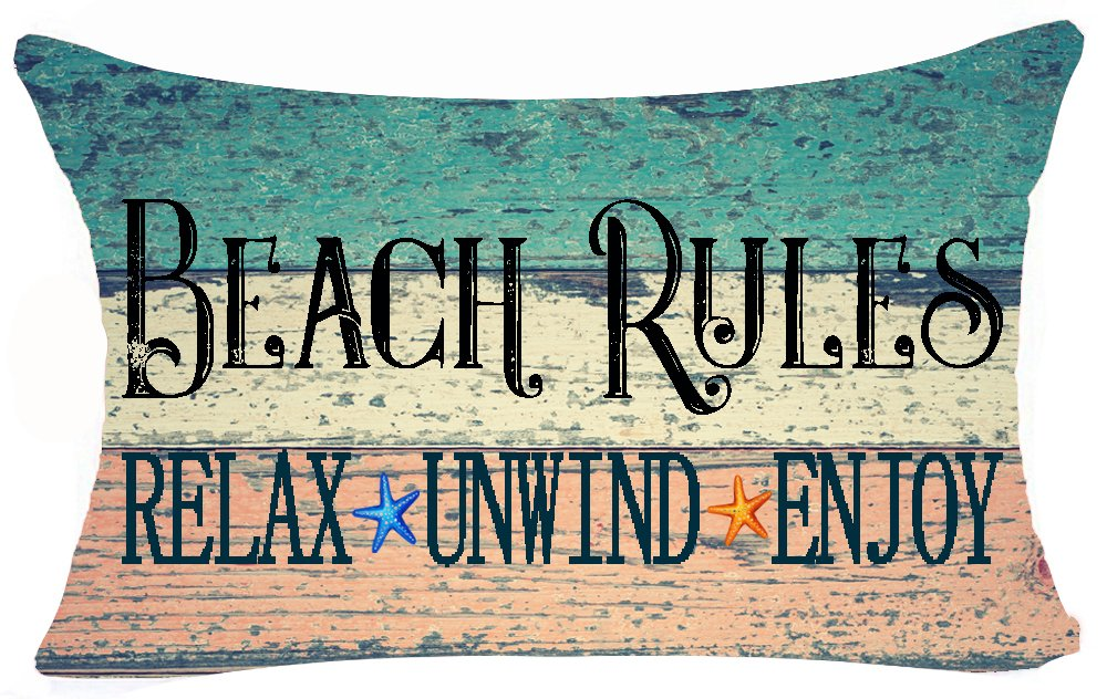Andreannie Retro Vintage Wood Grain Background Beach Rules Relax