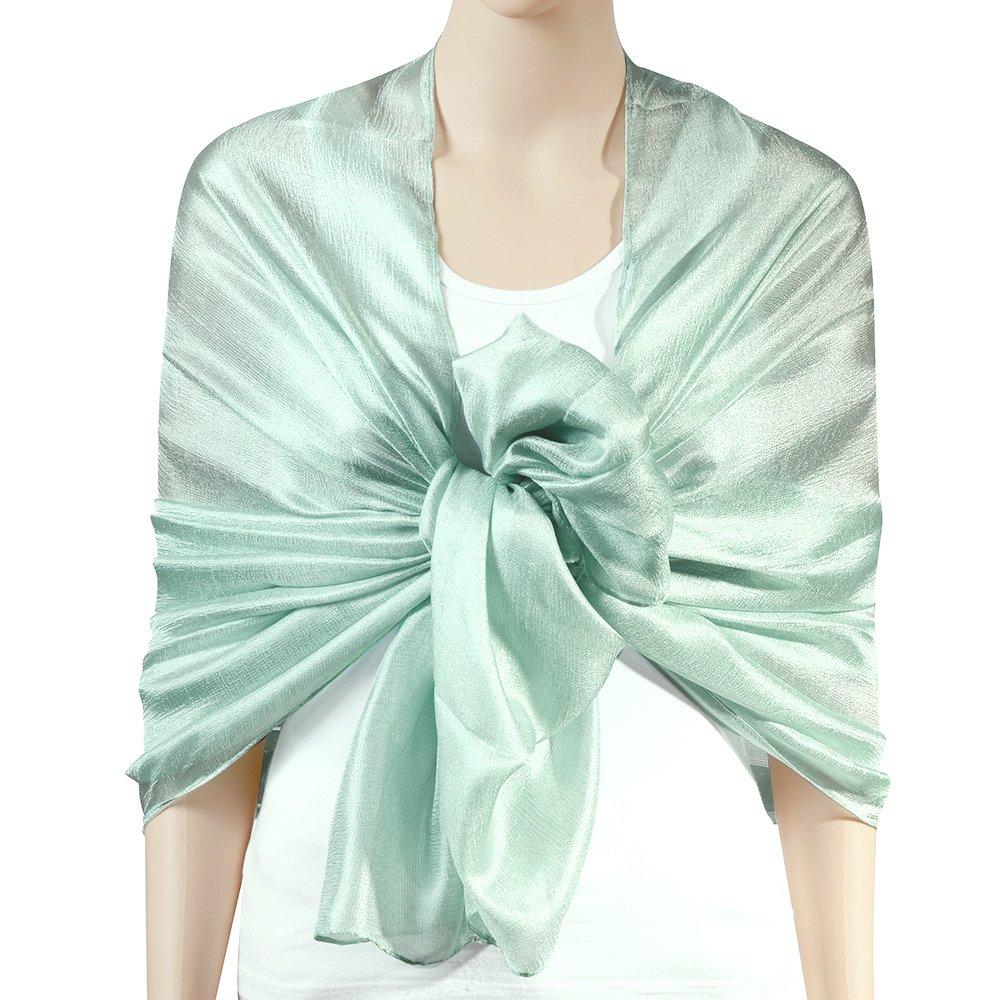 QBSM Womens Aquamarine Green Summer Solid Soft Bridal Evening Wedding Scarf Shawl Wrap