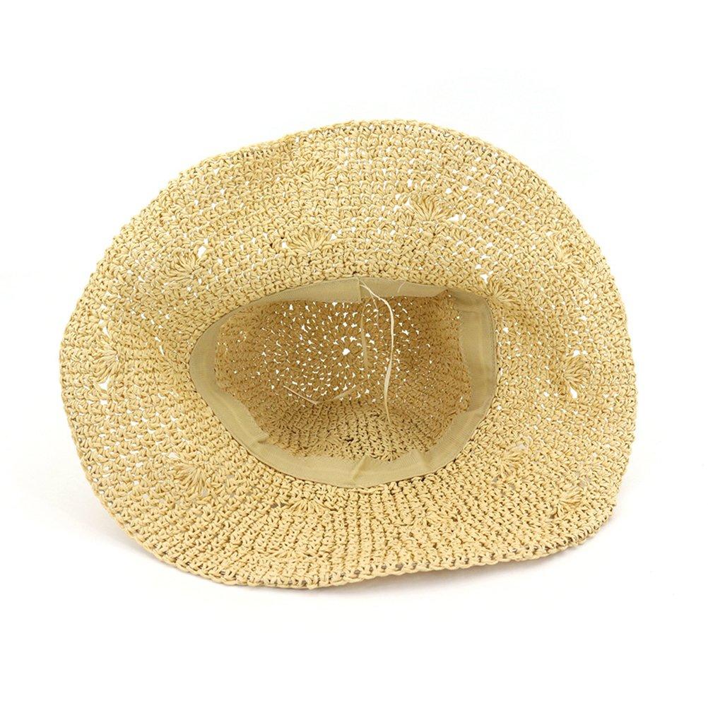 5facefacb1172 Zhuhaitf Playa de Verano Sombrero de sol Plegable Hueco Suave Ala Ancha  Sombrero de paja Bowknot Visera para Mujeres  Amazon.es  Ropa y accesorios