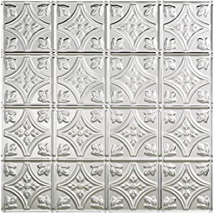 Fasade Easy Installation Traditional 1 Brushed Aluminum Lay In Ceiling Tile / Ceiling Panel (2' x 2' Tile)