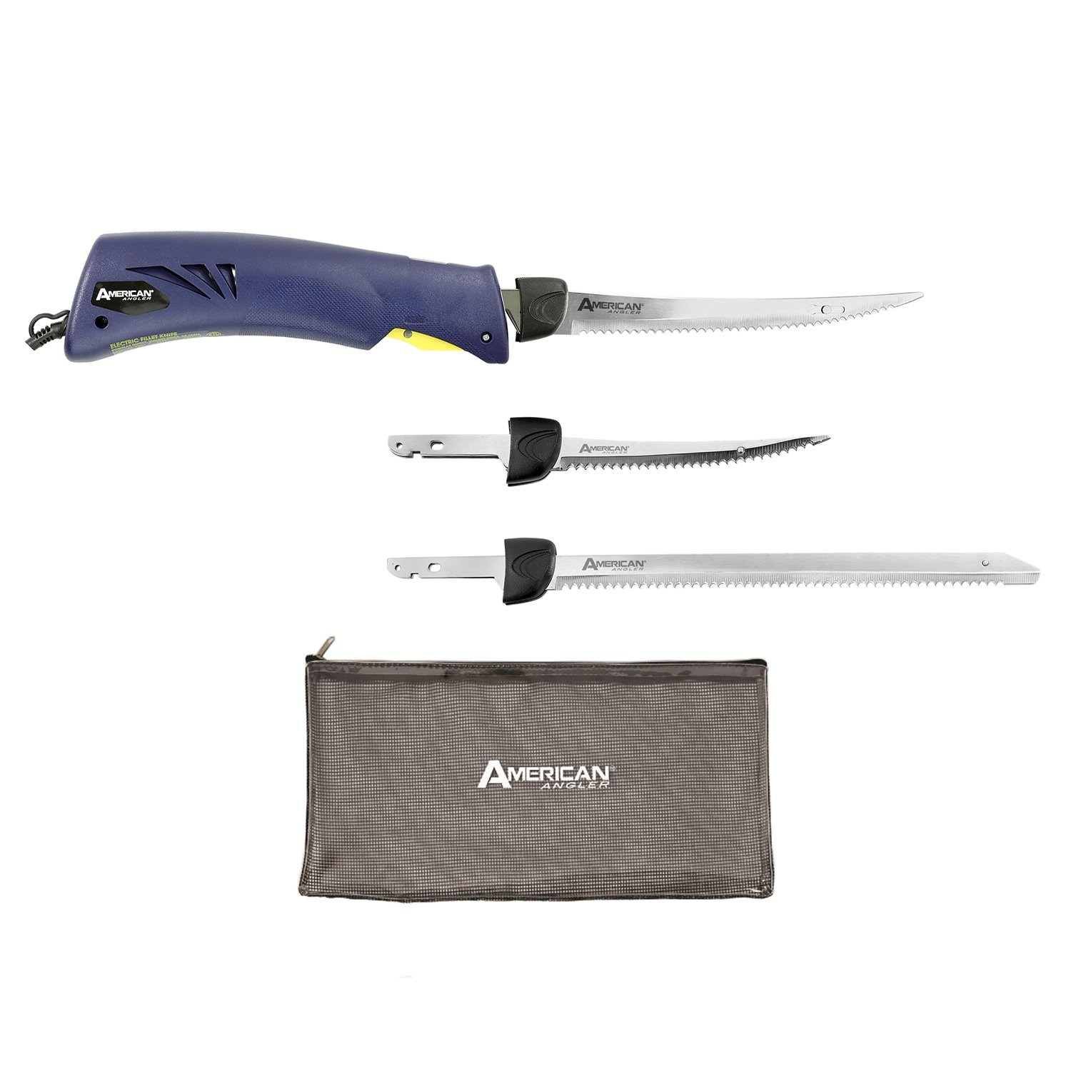 American Angler Classic Heavy Duty Electric Fillet Knife Precision Kit – 110 Volt High Performance Motorized Handset with Two Curved and One Straight Stainless Steel Freshwater Replacement Blades, 31451DS