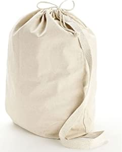 "Medium Natural 12 oz. Cotton Canvas Laundry Drawstring Bags with drawstring closure 19""W x 27""H size Eco-friendly Reusable Bag- CarryGreen Bag"