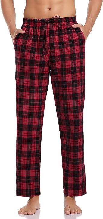 Hawiton Pantalones de Pijama Hombre Algodón Largo Pantalones de Dormir Hombre Invierno de Cuadros Pantalón Pijama de Estar por Casa: Amazon.es: Ropa y accesorios