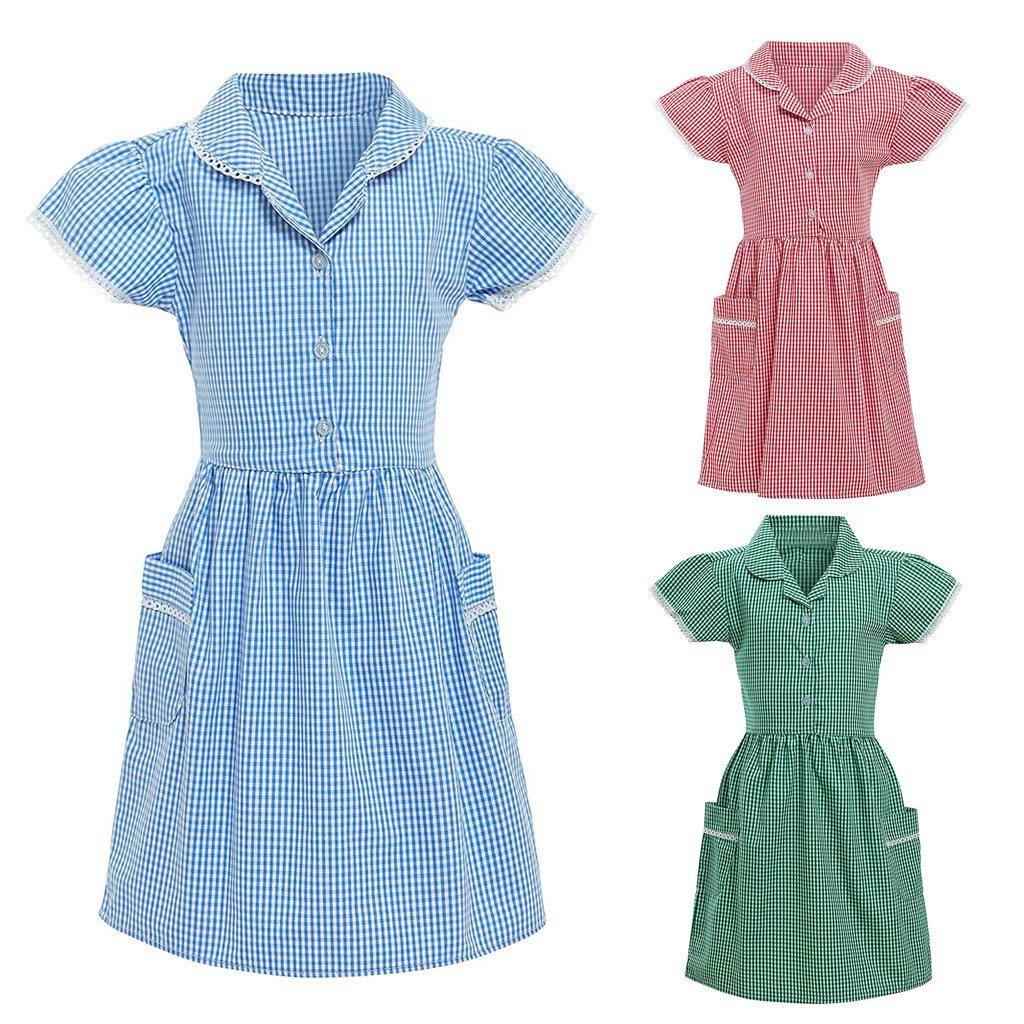Girls School Dress,Kids Gingham Girl Princess Turndown Lace Plaid Check Pocket School Dress Outfits for 3-10 Years Old