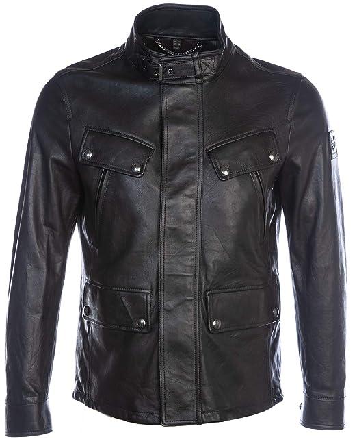 good service 100% genuine cheap prices Belstaff Men's Leather Denesmere Jacket Black: Amazon.co.uk ...