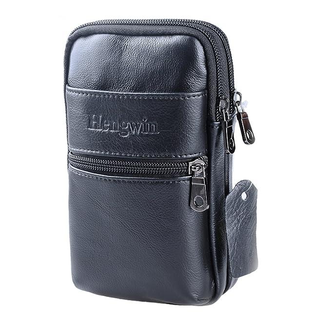 757b466a463a Amazon.com: Hengwin Men Phone Holster Case Leather Crossbody ...