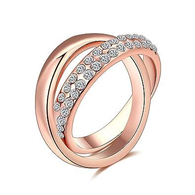 Interlocking Wedding Rings.Amazon Com Adisaer Wedding Rings For Women Rose Gold Ring