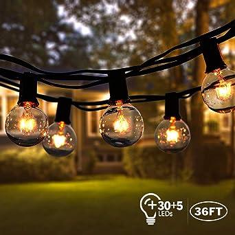 Guirnaldas luminosas de exterior,VIFLYKOO Cadena de Luz G40 Impermeable con 11M 30+5 Bombillas Incandescentes Perfecto para Jardín Patio Trasero Fiesta Navidad-Blanco: Amazon.es: Iluminación