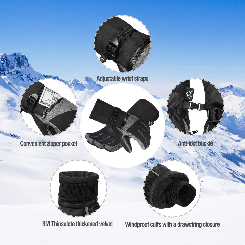 Anti-Neve in Microfibra Terra Hiker Guanti da Sci Guanti Invernali Impermeabili con 3M Thinsulate Isolation