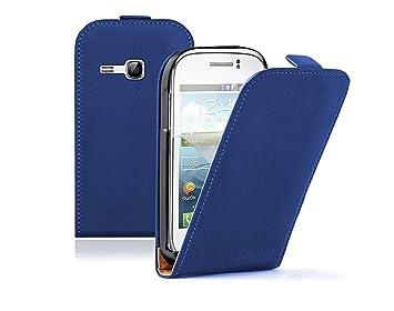 Azul Funda de Cuero para Samsung Galaxy Young (GT-S6310 / S6312 Duos / Dual / S6310L / S6310N) - Flip Case Cover Con Tapa + 2 Protector de Pantalla