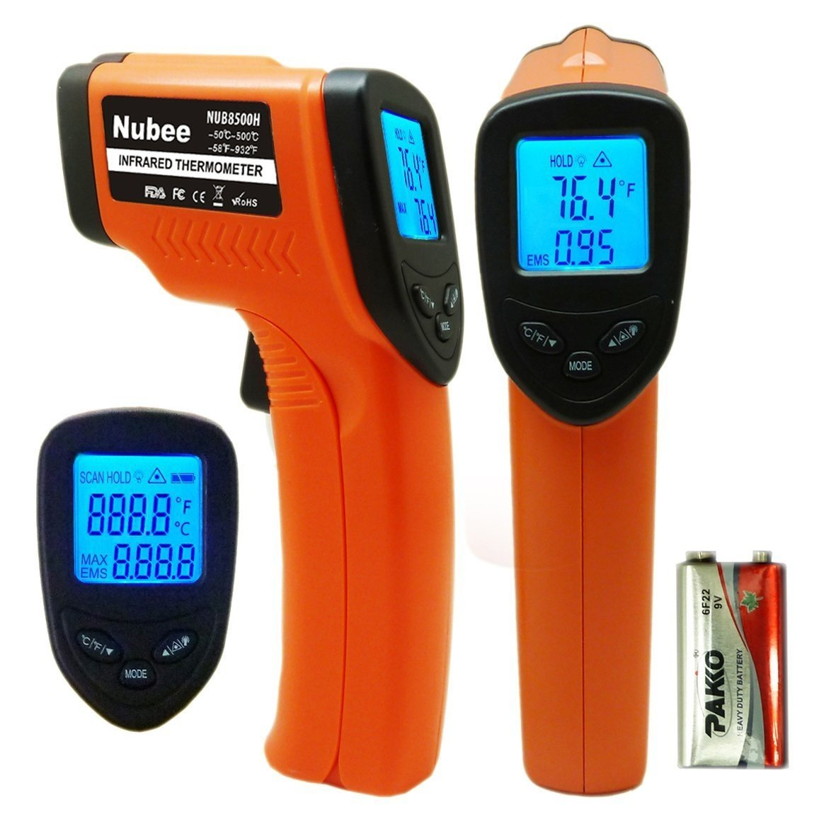 Nubee Temperature Gun Non-contact Infrared Thermometer MAX Display & EMS Adjustable -58℉~1022℉ (-50℃~550℃)