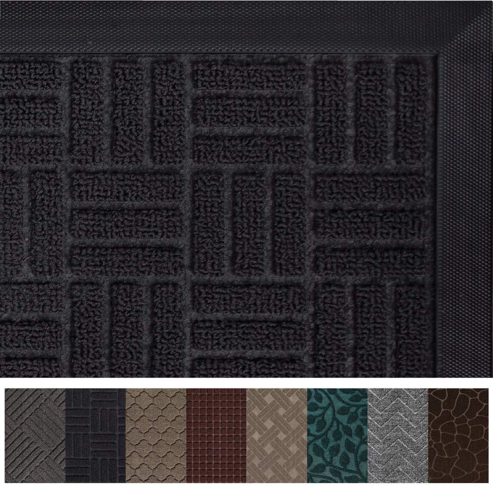 Gorilla Grip Original Durable Rubber Door Mat, 47 x 35, Heavy Duty Doormat for Indoor Outdoor, Waterproof, Easy Clean, Low-Profile Rug Mats for Entry, Patio, High Traffic Areas, Black Maze