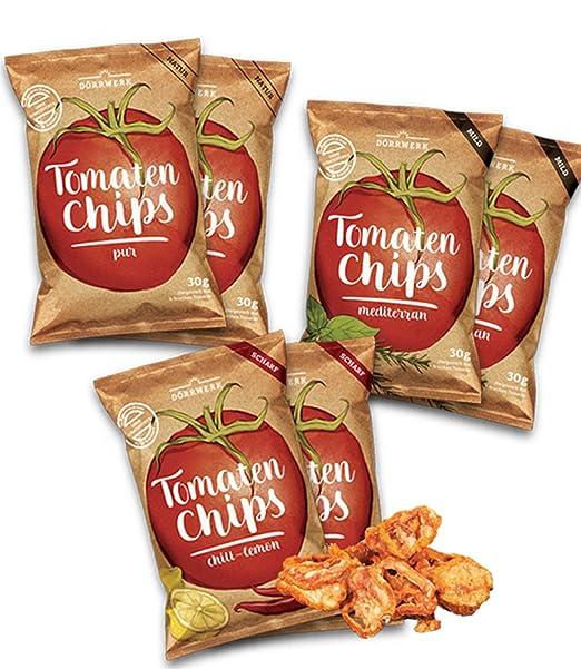 Chips de tomate, 6 paquetes (6x 30 g) de tomates secos. Un
