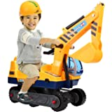 Arshiner Kids Ride-on Caterpillar Excavator Digger Pretend Play Construction Truck Toy with Helmet
