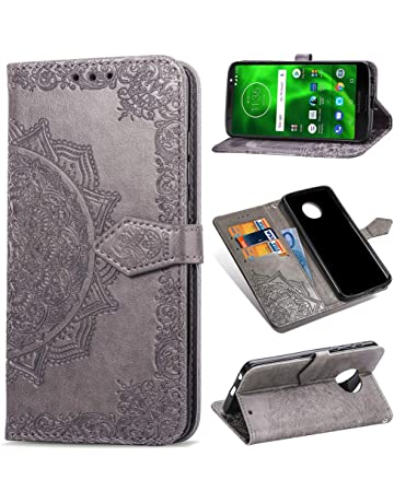 Moto G6 Case, Floral Totem Mandala Wallet Case Premium PU Leather Magnetic Flip Cover Shock