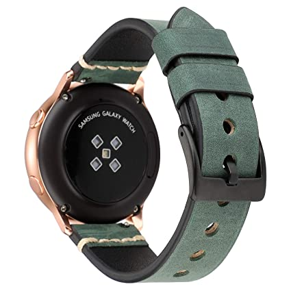 LBYZCAS Compatible for Galaxy Watch 42mm/Active Band,Gear S2 Smart Watch Bands,Breathable Genuine Leather 20mm Sport Watch Wristband Adjustable Strap ...