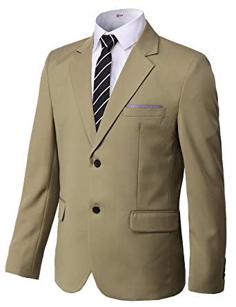 H2H Mens Slim Fit Single Two Button Blazer Jackets with Pocket-Chief Trim  Beige US 89aa0e989