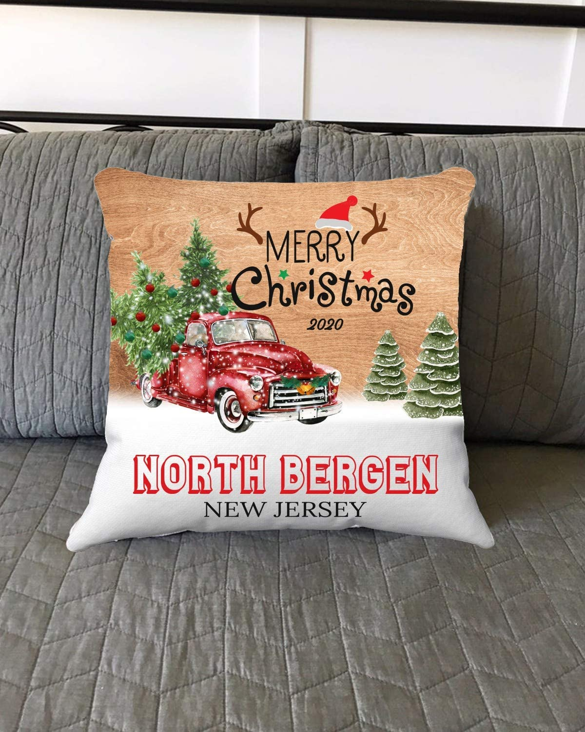 Merry Christmas North Bergen New Jersey NJ State 2020 - Home Decorations for Living Room, Couch Sofa Home Throw Pillow Covers 18x18 Inches - Hometown for Family, Friend