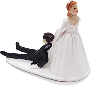 SCHOLMART Funny Bride and Groom Decorative Wedding Cake Toppers - Figurines, Keepsake Decorations in Unique Pose (Reluctant Groom)
