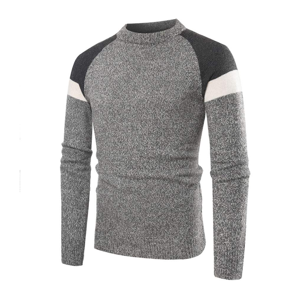 Mens Relaxed Fit Solid Shawl Collar Sweater Pullover Crewneck Long Sleeve Sweater