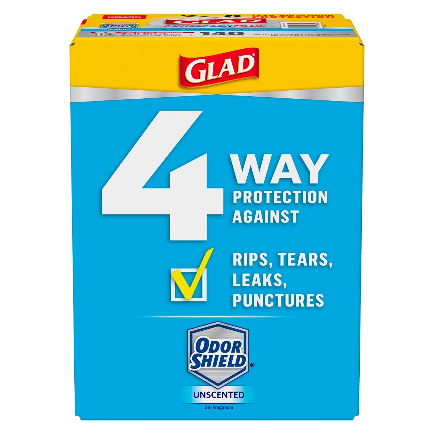 Amazon.com: Glad ForceFlexPlus Tall Kitchen Drawstring Trash Bags, Unscented,13 Gallon, 140 Count: Health & Personal Care