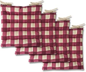 Sweet Home Collection Chair Cushion Seat Pads Indoor/Outdoor Printed Tufted Design Soft and Comfortable Covers for Dining Rooms Patio with Ties for Non Slip, 4 Pack, Buffalo Check Burgundy